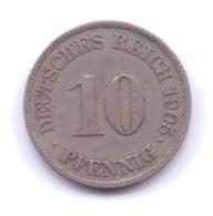 DEUTSCHES REICH 1905 J: 10 Pfennig, KM 12 - [ 2] 1871-1918 : Imperio Alemán