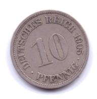 DEUTSCHES REICH 1905 F: 10 Pfennig, KM 12 - [ 2] 1871-1918 : Imperio Alemán