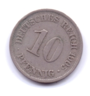 DEUTSCHES REICH 1905 A: 10 Pfennig, KM 12 - [ 2] 1871-1918 : Imperio Alemán