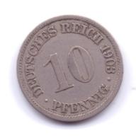 DEUTSCHES REICH 1903 A: 10 Pfennig, KM 12 - [ 2] 1871-1918 : Imperio Alemán