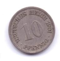 DEUTSCHES REICH 1901 F: 10 Pfennig, KM 12 - [ 2] 1871-1918 : Imperio Alemán