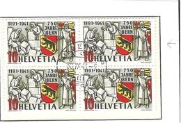 """Schweiz Suisse 1941: Bern Zu 253.2.01 Mi 398 """"Spinne"""" Yv 370 """"Araignée"""" Block Mit O NIEDERGLATT 30.IX.41 (Zu CHF 300.00) - Plaatfouten"""