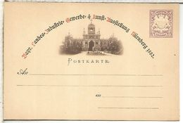 ALEMANIA ENTERO POSTAL KUNST AUSSTELLUNG NURNBERG 1882 - Germany