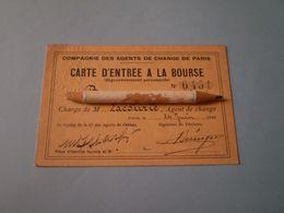 Carte D'entrée à La Bourse De Paris 1949 De La Compagnie Des Agents De Change De Paris. Tampon à Sec - Cartes