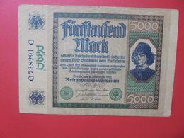 Reichsbanknote 5000 MARK 1922 CIRCULER (B.16) - [ 3] 1918-1933 : Repubblica  Di Weimar