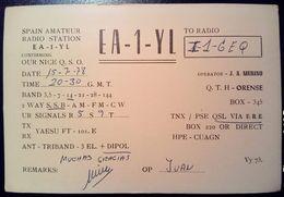 QSL - CARD ORENSE, GALICIA (ESPAÑA - SPAGNA) - 1978 - Radio Amateur