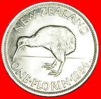 · KIWI BIRD: NEW ZEALAND ★ FLORIN 1964! DRESSED QUEEN!  MINT LUSTER! LOW START ★ NO RESERVE! - Neuseeland