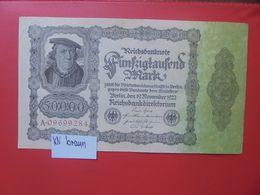 Reichsbanknote 50.000 MARK 1922 VARIANTE N°2 CHIFFRES BRUN 1 SEULE FOIS CIRCULER (B.16) - [ 3] 1918-1933 : Repubblica  Di Weimar