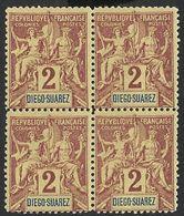 MADAGASCAR / DIEGO-SUAREZ / FRANCE-ALLEGORIE /SAGE--BLOKS X4-MNH 1894--FAUX FOURNIER - Diego-suarez (1890-1898)
