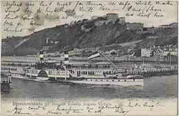 Ehrenbreitstein  Mit  Dampfer Kaiserin Augusta Victoria.  (Scheurtje Naast Zegel) -   1904  Naar  St. Gillis Bruxelles - Paquebots