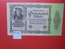 Reichsbanknote 50.000 MARK 1922 VARIANTE N°3 CHIFFRES ROUGE 1 SEULE FOIS CIRCULER (B.16) - 50000 Mark