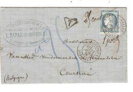REF1426/ TP 60C S/LAC Sarazin-Harbulot C.Charleville 21/7/1876 Gff T 25 Cent > Belgique Courtrai C.d'arrivée & D'entrée - Marcophilie (Lettres)