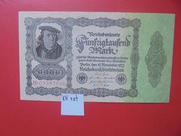 Reichsbanknote 50.000 MARK 1922 VARIANTE N°3 CHIFFRES ROUGE 1 SEULE FOIS CIRCULER (B.16) - [ 3] 1918-1933 : Repubblica  Di Weimar