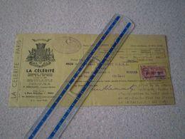 La CELERITE, Cie D'assurances Contre Le Bris Des Glaces, Paris.Agent Berger à Romans,Drôme;timbre Fiscal 2 Francs - Cambiali