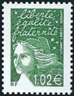 France Variété N° 3456 (a) ** Luquet - Marianne Du 14 Juillet. Le  1.02 Euro Vert Foncé Sans Phosphre - Errors & Oddities