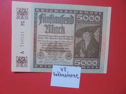 Reichsbanknote 5000 MARK 1922 VARIANTE N°1 CIRCULER (B.16) - [ 3] 1918-1933 : Repubblica  Di Weimar