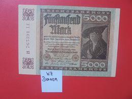 Reichsbanknote 5000 MARK 1922 VARIANTE N°2 CIRCULER (B.16) - [ 3] 1918-1933 : Repubblica  Di Weimar