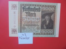 Reichsbanknote 5000 MARK 1922 VARIANTE N°3 CIRCULER (B.16) - [ 3] 1918-1933 : Repubblica  Di Weimar