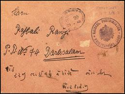"""Vorausfrankatur Dienstsiegel """"KAISERL. POSTDIREKTOR DEUTSCH-OSTAFRIKA"""" (Morogoro), L2 """"Frankiert / Mit 7 1/2 H."""" Violett - Colony: German East Africa"""