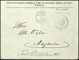 """Vorausfrankatur Dienstsiegel """"KAISERL. DEUTSCHES POSTAMT TANGA"""", L2 """"Frankiert / Mit 7 1/2 H."""" Violett, Von KBS """"TANGA 5 - Colony: German East Africa"""