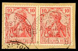 DEUTSCHE SEEPOST OST-AFRIKA-LINIE B 14.3 10, Klar Auf Briefstück Paar 10 Pf. Germania, Katalog: DR86(2) BS - Colony: German East Africa