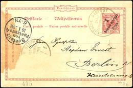 DEUTSCHE SEEPOST OST-AFRIKANISCHE HAUPTLINIE F 18/12 98, Dampfer Admiral, Auf GA-Karte 5 Pesa Auf 10 Pfg. Krone/Adler (f - Colony: German East Africa