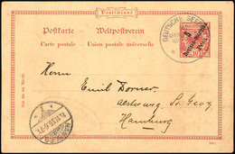 DEUTSCHE SEEPOST OST-AFRIKANISCHE HAUPTLINIE G 16/11 96, Dampfer General, Auf GA-Karte 5 Pesa Auf 10 Pfg. Krone/Adler Na - Colony: German East Africa