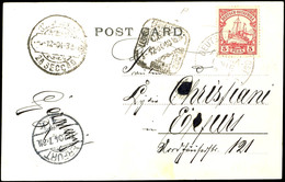 DEUTSCHE SEEPOST OST-AFRIKANA-LINIE P 3/12 04, Dampfer Prinzregent, Auf Ansichtskarte Port Elisabeth Mit 5 Pesa Schiffsz - Colony: German East Africa