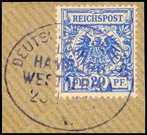 DEUTSCHE SEEPOST LINIE HAMBURG - WESTAFRIKA X. 23.1.? Violett Klar Und Zentrisch Auf Briefstück Deutsches Reich 20 Pf. K - Colony: German South West Africa