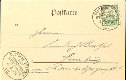 DEUTSCHE SEEPOST LINIE HAMBURG-WESTAFRIKA 4/3.01 VII, Klar Auf Postkarte Mit 5 Pf. Kaiseryacht Nach Hamburg, Katalog: 11 - Colony: German South West Africa