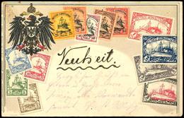 """1906, Bildpostkarte """"Die Briefmarken Von Deutsch-Südwestafrika"""" Im Prägedruck, Unfrankiert Gelaufen Von """"WINDHUK A 3.10. - Colony: German South West Africa"""