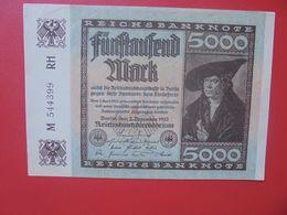 Reichsbanknote 5000 MARK 1922 VARIANTE CIRCULER (B.16) - [ 3] 1918-1933 : Repubblica  Di Weimar