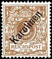"""3 Pfennig Krone/Adler Mit Diagonalem Aufdruck """"Karolinen"""", Ungebraucht, Mi. 750,-, Katalog: 1I * - Kolonie: Karolinen"""