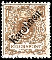 "3 Pfennig Krone/Adler Mit Diagonalem Aufdruck ""Karolinen"", Tadellos, Gestempelt "" YAP "", Doppelt Geprüft Bothe BPP, Mich - Kolonie: Karolinen"