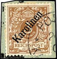 """3 Pfg Krone/Adler Mit Diagonalem  Aufdruck """"Karolinen"""", Tadellos Gestempelt Auf Briefstück, Fotoattest Steuer BPP """"gut G - Kolonie: Karolinen"""