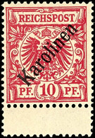 "10 Pfg Krone/Adler Mit Diagonalem Bdr.-Aufdruck ""Karolinen"", Tadellos Ungebraucht, Mi. 75.-, Katalog: 3I * - Kolonie: Karolinen"