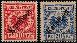 "10 U. 20 Pfg Krone/Adler Diagonaler Aufdruck ""Karolinen"", Sauber Ungebraucht, Mi. 140.-, Katalog: 3I,4I * - Kolonie: Karolinen"