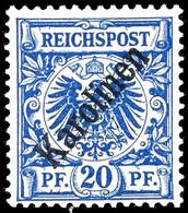 """20 Pfennig Krone/Adler Mit Diagonalem Aufdruck """" Karolinen """", Tadellos Postfrisch, Ohne Signatur, Mi. 200.-, Katalog: 4I - Kolonie: Karolinen"""