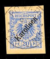 """20 Pfg Violettultramarin, Mit Stempel """"PONAPE 9/1 01"""" Auf Kabinettbriefstück, Sign. Schmidt, Mi. 160.-, Katalog: 4I BS - Kolonie: Karolinen"""