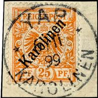 """25 Pf Diagonalaufdruck Tadellos Und Ideal Zentrisch Gestempelt """"YAP 6/11 99"""", Sign. Kosack Und Fotoattest Jäschke-Lantel - Kolonie: Karolinen"""