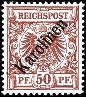 """50 Pfg Krone/Adler Mit Diagonalaufdruck """"Karolinen"""", Tadellos Postfrisch, Unsigniert, Mi. 1.800.-, Katalog: 6I ** - Kolonie: Karolinen"""