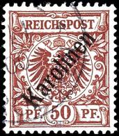 """50 Pfennig Krone/Adler Mit Aufdruck """"Karolinen"""" Diagonal, Gestempelt, Fotoattest Jäschke-Lantelme, Laut Attest Winzige S - Kolonie: Karolinen"""