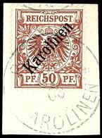 """50 Pfg Diagonalaufdruck Briefstück Gepr. Pfenninger Und Fotoattest Hartung """"...gestempelt """"PONAPE 20/2/00"""" ... Die Marke - Kolonie: Karolinen"""