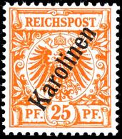 """3 Bis 50 Pfennig Krone/Adler Mit Steilem Aufdruck """" Karolinen """", Tadellos Postfrisch, Geprüft Steuer Und Jäschke-Lantelm - Kolonie: Karolinen"""