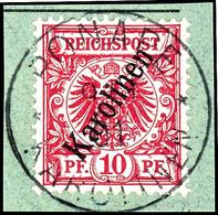 """10 Pfennig Krone/Adler In B-Farbe, Tadelloses Briefstück, Stempel """"PONAPE"""", Michel 120,-, Katalog: 3IIb BS - Kolonie: Karolinen"""