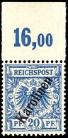 """20 Pfennig Krone/Adler, Steiler Aufdruck """" Karolinen """", Tadellos Postfrisch, Oberrandstück, Ohne Signatur, Mi. 65,- ++,  - Kolonie: Karolinen"""