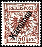 """50 Pfennig Krone/Adler Mit Steilem Aufdruck """"Karolinen"""", Postfrisch, Sauberes Stück, Ohne Signatur, Michel 170,-, Katalo - Kolonie: Karolinen"""