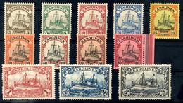 3 Pfennig Bis 3 Mark Kaiseryacht, Tadellos Postfrisch, Ohne Signatur, Mi. 115,-, Katalog: 7/18 ** - Kolonie: Karolinen