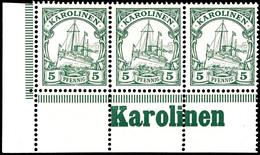 """5 Pfg. Kaiseryacht, Waagerechter 3 Er - Streifen Aus Der Linken Unteren Bogenecke, Im Unterrand Inschrift """"Karolinen"""" ,  - Kolonie: Karolinen"""