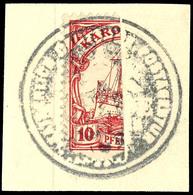 10 Pfennig Halbiert, Linke Hälfte Auf Briefstück, Dienstsiegelentwertung, Kabinett, Michel 70,-, Katalog: 9H BS - Kolonie: Karolinen